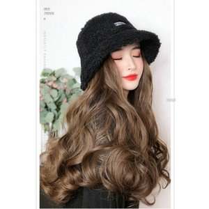 Hooded wig, long hair, wholesale lamb hair, fisherman's hat, wig cover, wig, autumn and winter water corrugated wig cap.