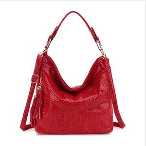 High Quality Snake skin pattern Women Handbag Hobo Tassel Women Shoulder Bag Big Black Ladies Hand Bag Female Crossbody Bags for women 2020