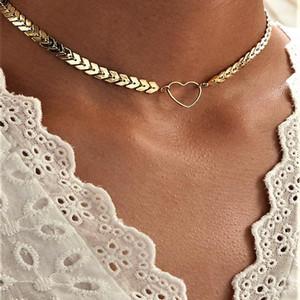 Legierungs-Herz-Mode-Fisch-Skala-Halskette für Frauen Schmuck Collares Freund Kette Zubehör Ästhetik Suspension