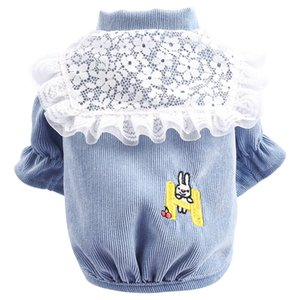 Dog coat Spring and Autumn Corduroy Puff sleeve clothes for pets Casual fashion embroidered Teddy Bichon Dog costume