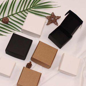 100pcs Small Paper Box Black White Kraft Cardboard Handmade Soap Box,Cute Gift Box, Jewelry Candy Packaging Boxes