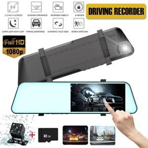 GISAEV 5.5 Inch Touch Screen 1080P Car DVR Stream Media Dual Lens Dash Camera Video Recorder Rearview Mirror Night Vision car Ca1