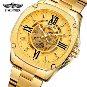 T-winner Automatic Automatic Analog Mechanical Brilliant Skeleton Skeleton Watch con bracciale in acciaio inox WRG8184M4