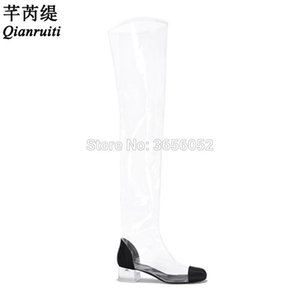Qianruiti Botines Mujer 2020 Spring Summer Clear Jelly Shoes Woman Perspex Crystal Heel Rain Boots Sexy Transparent Long Booties