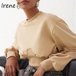 Irene 2020 Autumn Pullover Women Casual O Neck Cropped Sexy Tops Slim Short Khaki Winter Long Sleeve Pullovers Sweatshirts