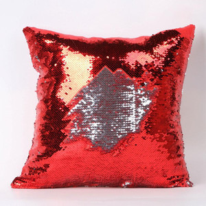 Double Sequin Pillow Case cover Glamour Square Pillow Case Cushion Cover Home Sofa Car Decor Mermaid Christmas Pillow Covers DHA2004