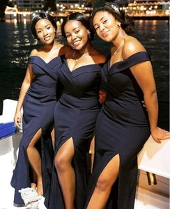 Nigerian off shoulder Bridesmaid Dresses long Simple sexy slit stain African Country Wedding Guest Gowns Maid Of Honor Dress Plus Size L141