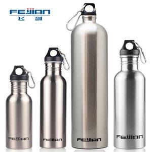 Feijian 750ML كبير زجاجة المياه الرياضة المحمولة الفولاذ المقاوم للصدأ واسعة الفم شرب مخيم قارورة السفر في الهواء الطلق دورة أباريق 201111