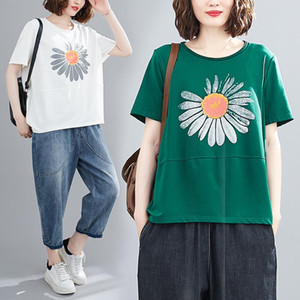 Short Sleeve T-shirts Women Summer Fashion Daisy Print Office Lady Vogue Chic Cotton Female Oversized Korean Style Patchwork Tee