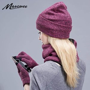 Baldauren Três - Peça estilo quente de inverno quente chapéu lenço de tela de toque luvas mulheres chapéu de inverno e lenço conjunto