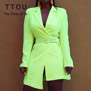 Autumn New Blazer Women's Fashion Long Sleeve Neon Orange Blazer Suit Fluorescent Yellow Jacket Blazers Club Party Suits