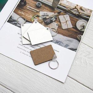 Sublime Blank Anahtarlık MDF Kare Ahşap Anahtar kolye Termal Transfer Anahtarlık Beyaz DIY Hediye çift taraflı 60 * 40 * 3mm Anahtarlık OWF2349