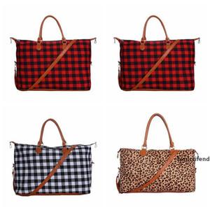 Buffalo Bag Plaid Duffle Bag 22inch Red Plaid Buffalo Weekender Bag Large Capacity Check Canvas Handbag with Strap Party Favor OOA7504-3