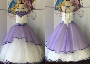 2021 Elegant White Purple Girls Pageant Party Dresses Princess Jewel Neck Lace Applique Tulle Pageant Prom Formal First Communion Dress