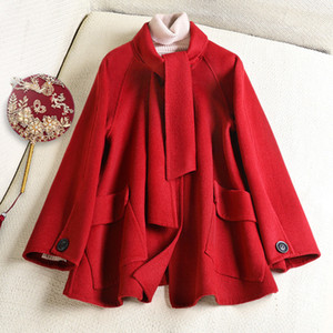 2020 wool coat for women New season double cashmere coat female 2020 spring han edition popular little cloth coat red scarf LJ200928