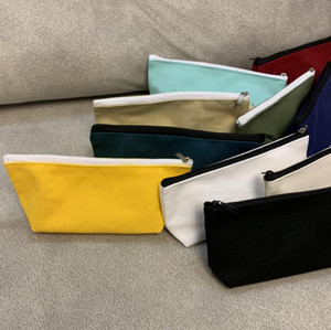 Sublimation Blanks Pencil Bags Canvas Zipper Pencil Cases Blank Cosmetic Bag Pen Pouches Phone Bag Organizer 10 Colors YG980