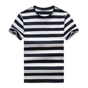 2021 new high-quality pure cotton new round neck striped short-sleeved T-shirt short-sleeved men's T-shirt casual sports men's T-shirt large