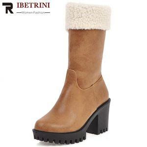 RIBETRINI On Sale Ladies Solid Boots High Heel Warm Plush New Comfy Mid Calf Boots Women Block Heel Fluffy Winter Shoes Woman