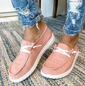 Free shipping 2021 Ladies Fashion Flat Casual Korean Single Shoes Lace-up Canvas Shoes Women's Shoes Large Size 35-43