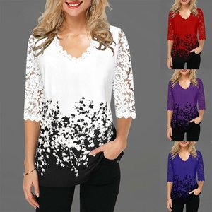 Women V Neck Blouse Shirt Half Sleeve Print Floral Spring Pullover Plus Size 5XL Hollow Out Lace Female Casual Shirt Y200828