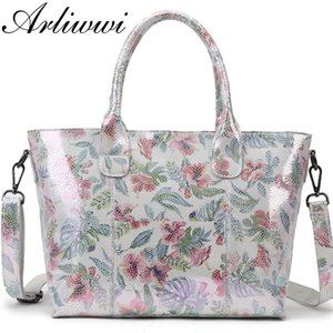 Lady 100% Real Leather Tote Handbag Shiny Flower Women Genuine Cowhide New Floral Coating Designer Bags GY03 201014