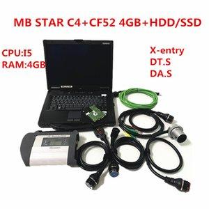 CF52 Toughbook I5 4GB com 320GB HDD / SSD 360GB com MB ESTRELA C4 para BE-NZ ferramenta de diagnóstico