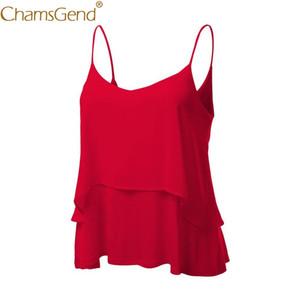 Chamsgend Newly Design Women Sexy Double Layer Loose Ruffle Chiffon Tops Sleeveless Beach Party Camisole Tank Top