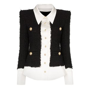HIGH QUALITY Newest Fashion Designer Jacket Women's Lion Buttons Satin Wool Blend Patchwork Tweed Jacket 201016