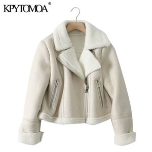 KPYTOMOA Women Fashion Thick Warm Winter Fur Faux Leather Cropped Jacket Coat Vintage Long Sleeve Female Outerwear Chic Tops Y1112