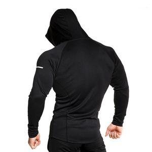 2019 Mens Gym Training Felpa Giacca da corsa Uomo Fitness Top Tight Hooded Felpe con cappuccio Gym Workout Tshirt Escursionismo Giacca da ciclismo1