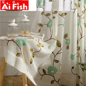 Tulle Curtains Living Rustic Flower Sheer Curtains Curtain bedroom Dinning AP106-40 Y200421