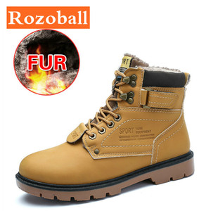 Classic Leather Men Boots Winter Plush Fur Super Warm Snow Boots Men Casual Shoes Sneakers High Top Waterproof Ankle Boots Men 201026