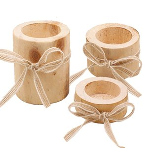 Wooden Candlestick 3 Sizes Candle Holder Creative Table Decoration Mini Plant Flowerpot Home Decoration Not Include Candle GWC3534