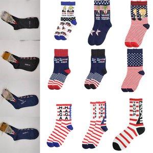 13 style Trump sock fashion striped stars Trump printed cotton sock football sport sock christmas gift GWC2535