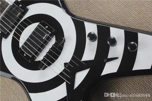 Incomum Forma Guitarra El éTrica Preta Com C íRculo Branco, Palisander Griffbrett, Ferragens Pretas, Oferecendo Servi Cos Personalizados
