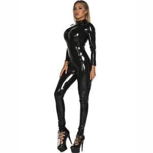 الحجم لامعة Wetlook PVC المطاط catsuit زيبر المنشعب فتح BODYSUIT PU جلدية الهيئة غير الرسمية وبذلة ملابس النساء ملابس داخلية S-5XL زائد