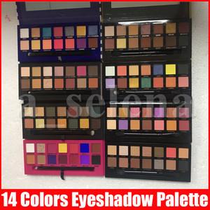 Multi Color 14 cores da paleta da sombra com uma escova macia Mordern listra Rosa de Ouro Sombra em Pó Palette 11 Styles