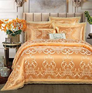 Cotton jacquard luxury bedding set stain bed set 4pcs cotton silk lace duvet cover sets bedsheet home textile