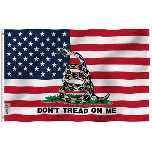 Anley Fly Breeze 3x5 Foot Gadsden American Flag - USA No pise a mí Party Tea Patriotic Flags C1002