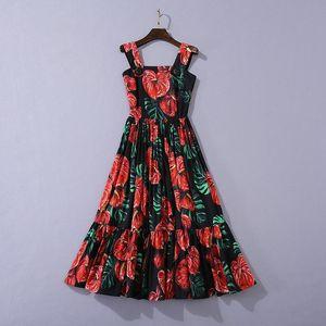 2020 الصيف الخريف أحدث الفاخرة السباغيتي حزام مربع الرقبة الأزهار القطن peplum الألواح الأسود منتصف العجل اللباس المدرج dresses O2117HZH806