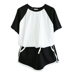 2 Pcs Sets Tracksuit Summer Short Sleeve O Neck T shirt For Women Spring Shorts Suits Female Casual Sets