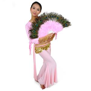 Plumas del vientre danza del pavo real danza de los abanicos 10 colores de alta calidad de funcionamiento de la etapa Puntales de plumas ventiladores de la mano plegable