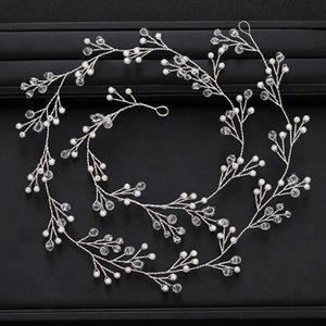 AiliBride casamento Headband longo Crystal Pearl nupcial Headpieces Cabelo Vine cor prata casamento Acessórios de cabelo Jóias