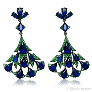 Women Luxury Earrings Crystal Stone Design Big Drop Earrings