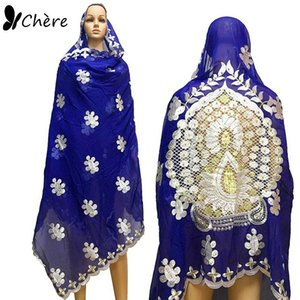 African women scarfs muslim embroidered big scarf nice design on the back soft cotton scarf with BEADS for shawls BM649
