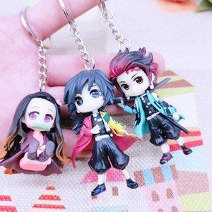Anime Demon Slayer Acrylic Keychain Brinco Blade Of Ghost Key Chain Kamado Tanjirou Cosplay Pompom Yaiba Keyring Pendant gift