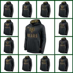 ChicagoServis Hoodies için Bear ceketler Mens Siyah Salute 2020 49ersBengalsSeahawksvatansever kişiRavensKovboy Hoodie