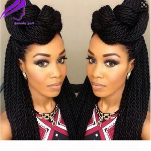 Perruques frontales de dentelle tressées synthétiques pour femmes noires 1B résistant à la chaleur 26 pouces poitrines de cheveux Perruques de tresses tressées premium tresses Perruque