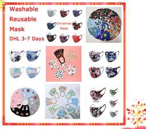 STOCK Chrismas máscara de la máscara 3D cara para la máscara adulta de seda niños cubrir la boca de Halloween anti-bacterianas Máscaras reutilizable lavable Diseño DHL