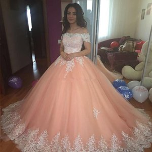 Off Shoulder Lace Applqiues Quinceanera Dresses Pink Sweet 16 Dresses Birthday Party Dress Ball Gown Prom Dress